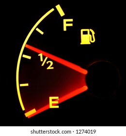 Glowing Gas Gauge Falling to Empty