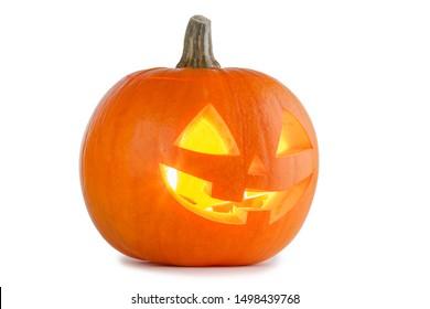Leuchtende Halloween-Kürbis einzeln auf weißem Hintergrund