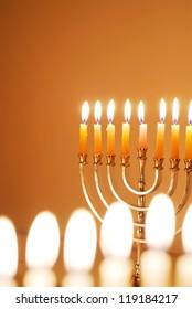 Glowing Hanukkah Candles
