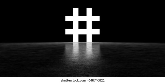 Glowing hashtag sign in a dark space. 3D Render