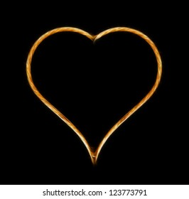 Glowing heart on black background
