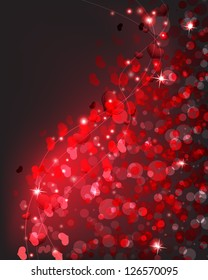 Glowing hearts and sparks.  Valentine's Day romantic background.