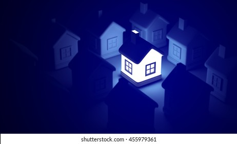 Glowing home on blue background, idea concept. Can be used for Avatar, Science, Technology. 3d rendering of a lot of houses and a bright house in the middle. Best apply for design and big posters.