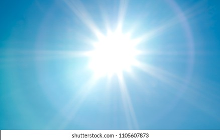 Glowing hot, sunlight with dazzling vibrant rays on a sunny tropical morning.