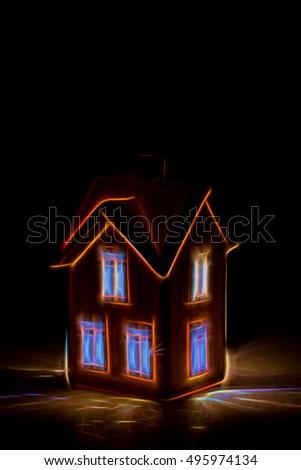 Glowing Illustration Created Photo Lit House Stock Photo (Edit Now