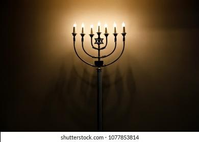 Glowing Jewish Hanukkah menorah or Bat Mitzvah