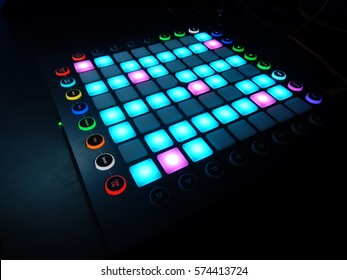 glowing Launchpad on black background