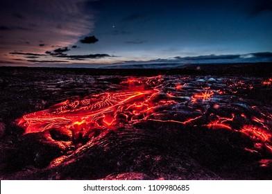 Glowing lava flow from Kilauea volcano, Hawaii, USA