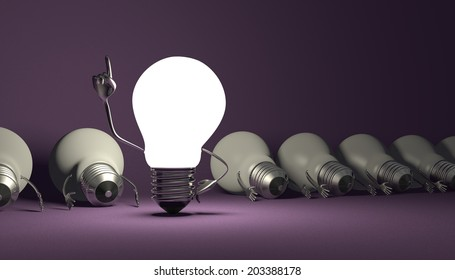 Glowing light bulb character in moment of insight standing among many switched off lying ones on violet textured background
