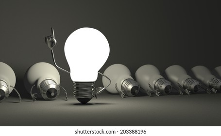 Glowing light bulb character in moment of insight standing among many switched off lying ones on gray textured background