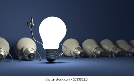 Glowing light bulb character in moment of insight standing among many switched off lying ones on blue textured background