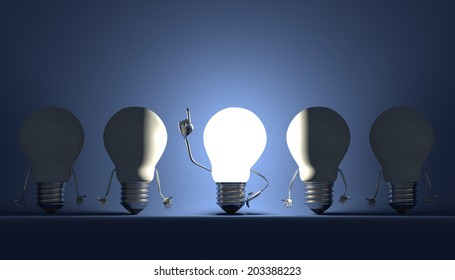 Glowing light bulb character in moment of insight among switched off ones on blue textured background