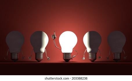 Glowing light bulb character in moment of insight among switched off ones on red textured background