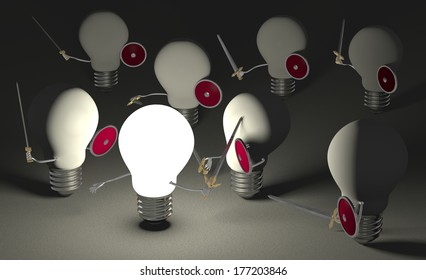 Glowing light bulb fighting against many switched off ones with swords and shields on dark gray textured background