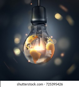 glowing light bulb with a world map on a dark background - a conceptual 3d image