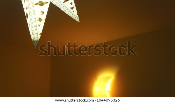 Glowing lights in a childrens room