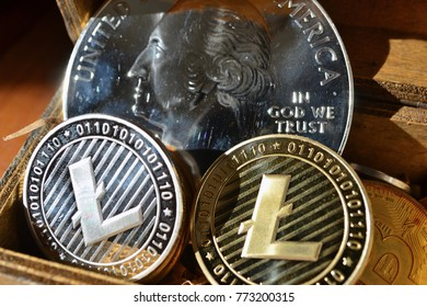 Glowing LiteCoin & 1 Giant Silver Quarter