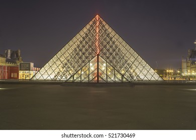 Glowing Musee Du Lourve under the museum lights. photo taken back in October 2015 in Paris, France