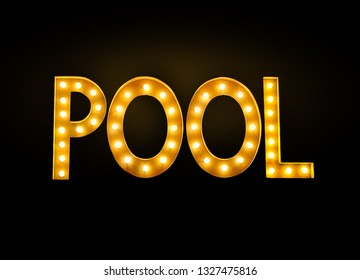 glowing neon pool sign isolated on black in billiard hall