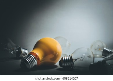 Glowing one light bulb.creativity inspiration concept ideas.