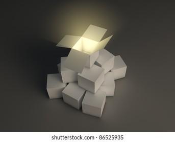 Glowing open box