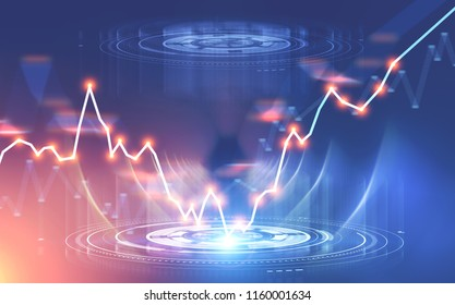 Glowing orange graphical user interface over Forex style graph. Stock market concept and fintech. Toned image double exposure mock up