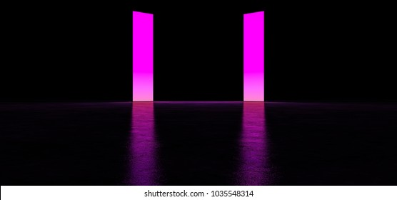 Glowing panels in a dark space. Two glowing banners of purple color. 3D Render