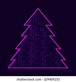 glowing pink Christmas tree. Raster version
