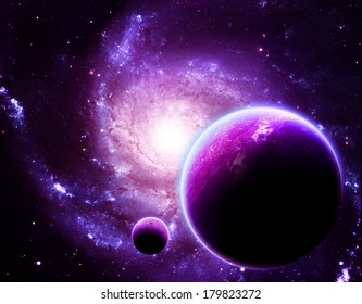 Glowing Planet Above Stunning Galaxy - Elements of this Image Furnished by NASA