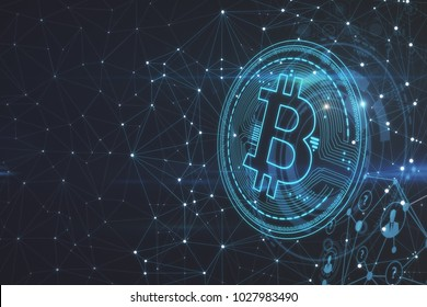 Glowing polygonal bitcoin backdrop. Cryptocurrency and finance concept. 3D Rendering