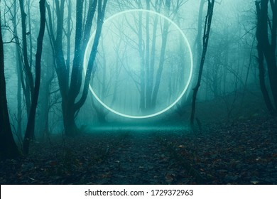 A glowing, portal, gateway floating above a track in a spooky misty winter forest, Science fiction concept.