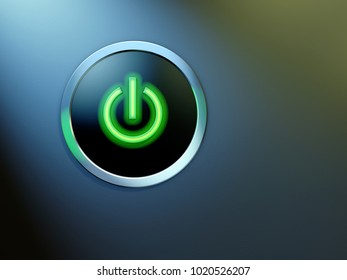 Glowing power button with a modern design. 3D illustration.