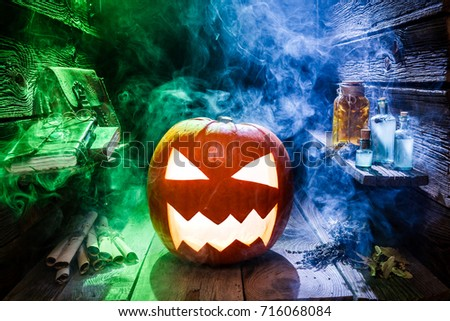 Glowing pumpkin for Halloween