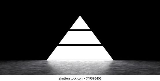 Glowing pyramid in a dark room  3D Render