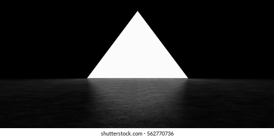 Glowing pyramid in a dark room with a shiny floor. 3D Render