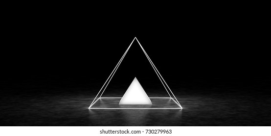 The glowing pyramid is inside another pyramid. 3D Render
