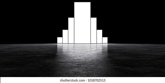 Glowing rectangle in a dark room. 3D Render