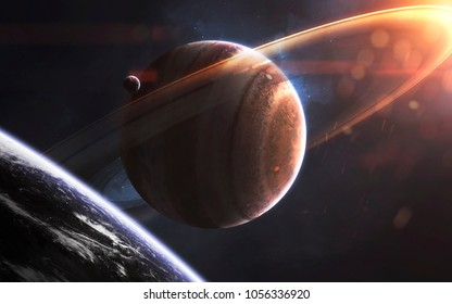 Glowing rings of gas giant, awesome science fiction wallpaper, cosmic landscape. Elements of this image furnished by NASA