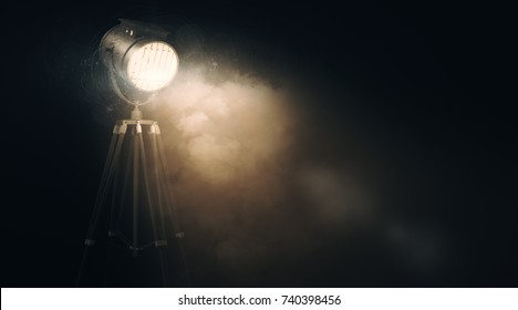 Glowing spotlight against abstract grunge wall with smoke and copy space. Event concept. 3D Rendeirng