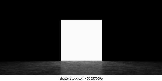 Glowing square in a dark room. 3D Render