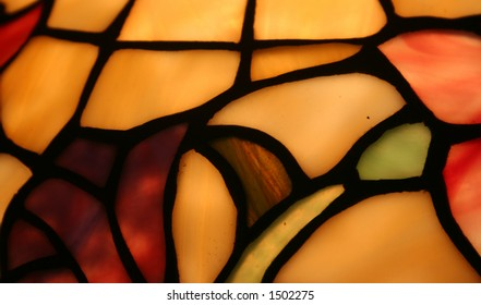 Glowing stained glass lampshade