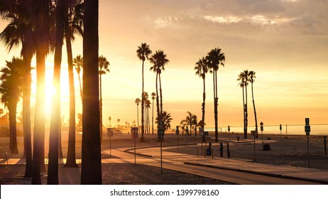 A glowing sunrise over Belmont Shore in Long Beach, California.