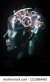 Glowing transparent cyborg face with atomic particle brain