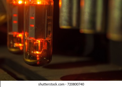 Glowing tube in guitar amplifier.