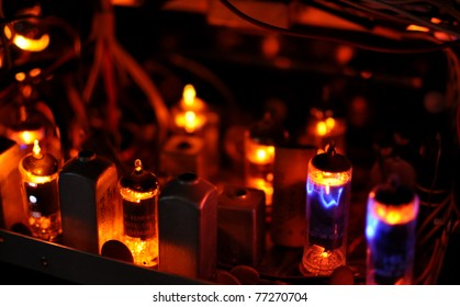 glowing tubes in antique radio