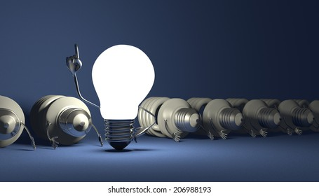 Glowing tungsten light bulb character in moment of insight standing among many switched off lying fluorescent ones on blue textured background