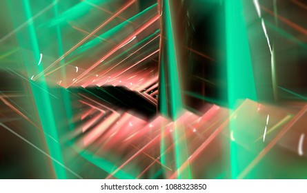Glowing tunnel from twisted spheres. Abstract multicolor geometric background motion. illustration beautiful.