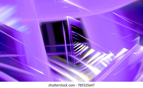 Glowing tunnel from twisted spheres. Abstract violet geometric background motion. illustration beautiful.