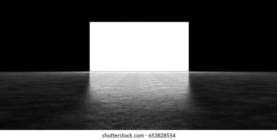 Glowing wall in a dark space. 3D Render