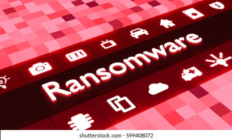 Glowing word ransomware in red and iot symbols cybersecurity 3d illustration